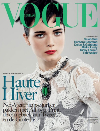 Last month Dutch model Anna de Rijk shot this stunning cover for Vogue Netherlands. Anna, who is naturally copper blonde, rocks jet black locks and brows for this shoot, making her icy blue eyes stand out even more. She wore Dolce & Gabbana and was photographed by Marc de Groot. Beautiful.