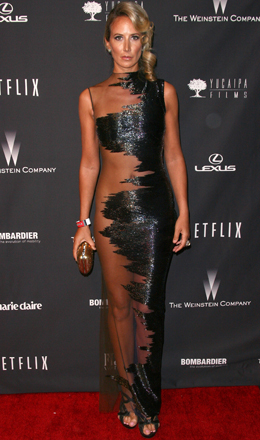 "Lady Victoria Harvey rocks Gaurav Gupta's futuristic ""All-But-Naked"" dress at the 2014 Golden Globes earlier this year"