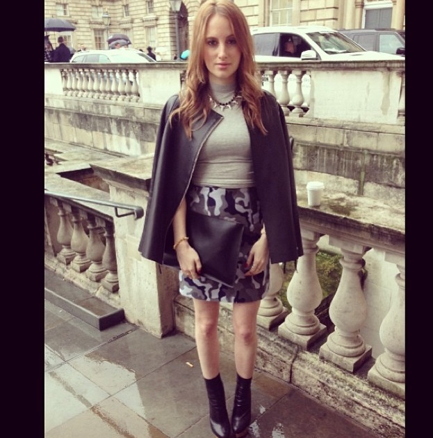 Costume Change! Day 1 Outift 2: Jacket All Saints, Top ASOS, Skirt Christopher Kane, Boots Charlotte Olympia, Clutch Daks